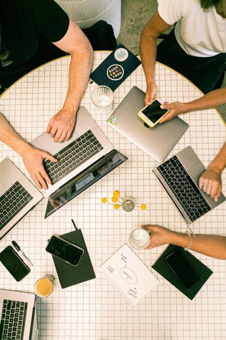 team working on internet marketing strategy